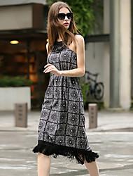 ILOVEKNITTING  Women's Holiday Vintage Loose Dress,Floral Halter Knee-length Sleeveless