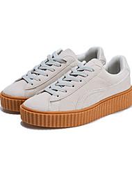 Unisex-Sneakers-Tempo libero Casual Sportivo-Comoda-Piatto Polacche-Scamosciato Tulle-Nero Giallo Beige