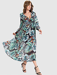 Women's Holiday Vintage Swing Dress,Floral V Neck Maxi Long Sleeve Green Polyester Summer / Fall