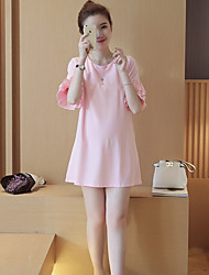 Maternity Holiday Cute Loose Dress,Solid Round Neck Above Knee Short Sleeve Pink / White Cotton Summer