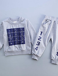 Boy's Casual/Daily Print Hoodie & Sweatshirt / Pants / Clothing Set,Cotton Spring / Fall Blue / Red / Gray