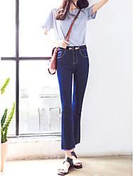 Women's Solid Blue / Black Jeans / Bootcut Pants,Simple