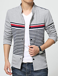 Men's Long Sleeve Casual / Plus Size Jacket,Cotton / Polyester Striped / Solid Black / Blue / Gray HXTX-5760