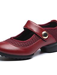 Keine Maßfertigung möglich Damen Tanz-Turnschuh Leder Sneakers Praxis Anfänger Eingenähte Spitze Blockabsatz Schwarz Rot 2,5 - 4,5 cm