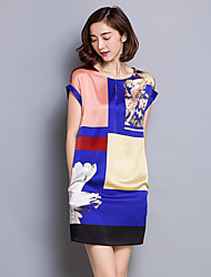 Women's Plus Size Street chic Loose Dress,Color Block Round Neck Mini Short Sleeve Blue / Black Silk Summer