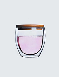 Heat Resistant Insulating Double Glass Transparent Cup with Lid (250ml)