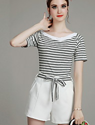 MIUCO  Casual/Daily / Work Simple Summer Set,Striped Boat Neck Short Sleeve Red / Black Cotton Thin
