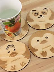 Wood Color Cartoon Wooden Coasters Insulation Pad Diameter 105MM (Random Color)
