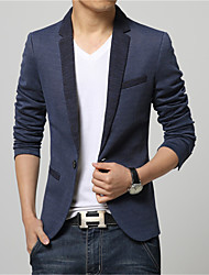 Men's Patchwork / Color Block Casual / Work / Formal Blazer,Cotton / Rayon / Polyester Long Sleeve Blue / Gray