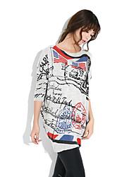 Damen Lang Pullover-Lässig/Alltäglich Street Schick Druck / Buchstabe Weiß / Beige / Grau Rundhalsausschnitt Langarm Wolle / Acryl / Nylon