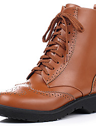 Черный / Коричневый-Женский-На каждый день-Дерматин-На низком каблуке-Военные ботинки / Ботинки / Гладиаторы / С круглым носком-Ботинки