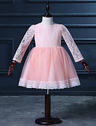 A-line Short / Mini Flower Girl Dress - Lace Long Sleeve Jewel with Lace
