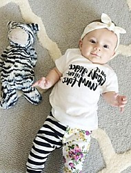 Baby Casual/Daily Print Tee-Cotton-Summer-White suit