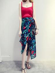 Women's Floral / Geometric Blue / Red / Orange Skirts,Boho Asymmetrical