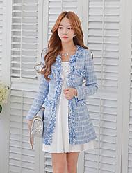 DABUWAWA® Femme Col Arrondi Manche Longues Pull & Cardigan Bleu-D15COT048
