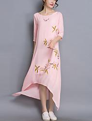 Women's Casual / Vintage Ethnic Print Loose Dress,Print Asymmetrical ½ Length Sleeve Pink Cotton / Linen Spring / Fall