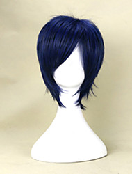 35cm Black Mix Blue Wig Short Straight Synthetic Hair Wig Young Man's  Cosplay Wig