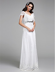 LAN TING BRIDE A-line Wedding Dress Floral Lace Floor-length V-neck Lace with Beading Lace