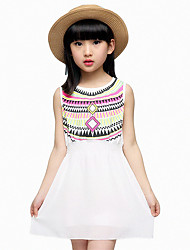 Girl's Casual/Daily Patchwork Dress,Others Summer Multi-color