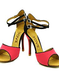 Customizable Women's Dance Shoes Latin/Salsa Flocking Customized Heel Yellow/Red