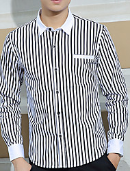 Men's Casual/Daily Fall Shirt,Striped Long Sleeve Cotton