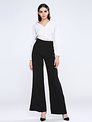 Women's High Rise Micro-elastic Jeans Pants Wide Leg