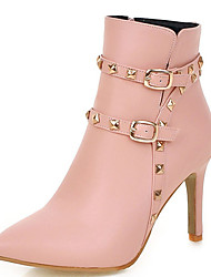 Women's Shoes Stiletto Heel Pointed Toe Rivets Zip Ankle Boot More Color Available