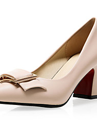Damen-High Heels-Büro / Kleid / Lässig-Kunstleder-Blockabsatz-Absätze / Pumps / Spitzschuh-Schwarz / Grün / Weiß / Mandelfarben