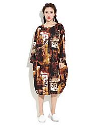 HANBELLE Women's Round Neck Long Sleeve Tea-length Dress-876#