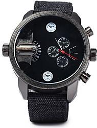 Men's Sport Watch Quartz Dual Time Zones Fabric Band Cool Black Brand SHI WEI BAO