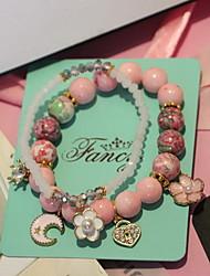 Feminino Pulseiras Strand Cristal Vidro Vintage Moda Forma Redonda Rosa claro Jóias 1peça