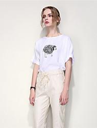 ARNE® Femme Col Arrondi Manche Courtes T-shirt Blanc-B059