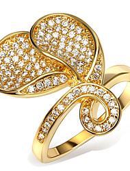 Butterfly Design Women's Fashion CZ Rings 18K Real Gold Platinum Plating Cubic Zircon Bridal Wedding Ring