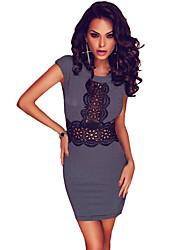Women's Micro Black White Plaid Crochet Lace Trim Mini Dress