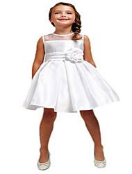 Ball Gown Knee-length Flower Girl Dress - Taffeta Sleeveless Jewel with Flower(s) / Sash / Ribbon