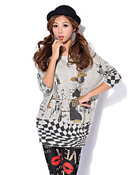 Women's Casual/Daily Cute / Street chic Long Pullover,Print White / Beige / Gray Round Neck Long Sleeve Wool / Acrylic
