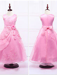 Ball Gown Ankle-length Flower Girl Dress - Organza / Satin Sleeveless Jewel with Flower(s) / Lace