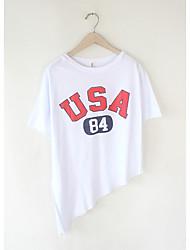 Damen Buchstabe Einfach Lässig/Alltäglich T-shirt,Rundhalsausschnitt Sommer Kurzarm Blau / Weiß / Schwarz Baumwolle Dünn
