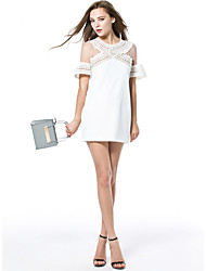 Women's Casual/Daily Sexy Sheath Dress,Patchwork Round Neck Mini Short Sleeve White / Black Polyester Summer