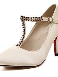 Damen-High Heels-Lässig-PU-Stöckelabsatz-Absätze / Spitzschuh-Schwarz / Mandelfarben