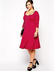 Feminino Bainha Vestido,Casual / Tamanhos Grandes Simples Sólido Decote Quadrado Altura dos Joelhos Manga ¾ Vermelho Poliéster Outono