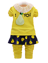 Girl's Casual/Daily Print Clothing Set,Cotton Fall Pink / White / Yellow / Gray