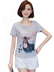 Summer Go out/Casual/Daily Cute Summer T-shirt Round Neck Short Sleeve Fashion Printing Blouse Shirt