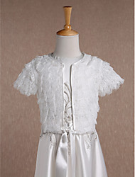 Kids' Wraps Coats/Jackets Short Sleeve Lace Ivory Wedding Party/Evening Casual Scoop 34cm Ruffles Open Front