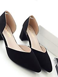 Черный / Розовый / Серый-Женский-На каждый день-Флис-На толстом каблуке-На каблуках-Обувь на каблуках