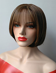 Blonde Brown Ombre Color Short Straight Wigs Capless Synthetic Wigs For Women