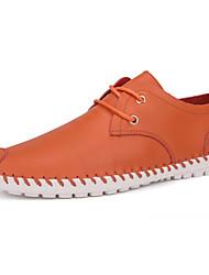 Herren-Flache Schuhe-Lässig-Kunstleder-Flacher Absatz-Komfort-Schwarz Orange
