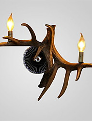 Vintage Wall Lights Country Antler lights 2-Lights Easy Installation Resin Materials