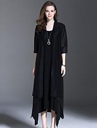 es estilo ocasião Dannuo das mulheres Tipo temporada outerwear, padrão decote espessura tecido de cor comprimento da manga