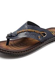 Herren-Sandalen Slippers & Flip-Flops-Lässig-Leder-Flacher AbsatzBlau Braun